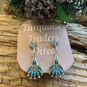 Zuni Turquoise & Sterling Needlepoint Dangles